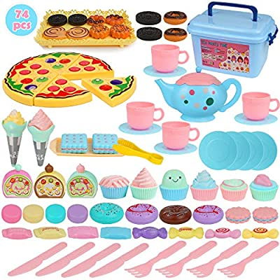 BGdoyz Kids Tea Set Princess Tea Time Toy, 74 Pieces Pretend Play Food Set Tea Party Playset Accessories, Including Plastic Teapots Teacups Cookies Cakes Donuts for Toddlers,Boys Girls by Shantou Kenasi Toy Co., Ltd