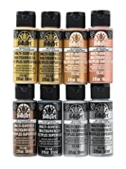 Kit includes 8 – 2 oz FolkArt Multi-Surface Bright Gold, 14k Gold, Antique Gold, Rose Gold, Chocolate Brown, Charcoal Black, Platinum, and Silver Sterling Creamy and shiny consistency that brushes on smooth Metallic  finish Use on wood, glass, cerami...