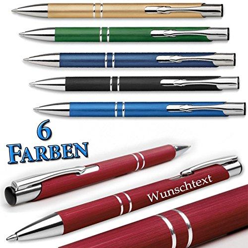 polar-effekt 1 Metall Kugelschreiber Oleg Brush - gebürsteter Oberfläche mit Gravur des Namens - Personalisierte Geschenk-Idee zum Geburtstag Mitbringsel - Farbe rot