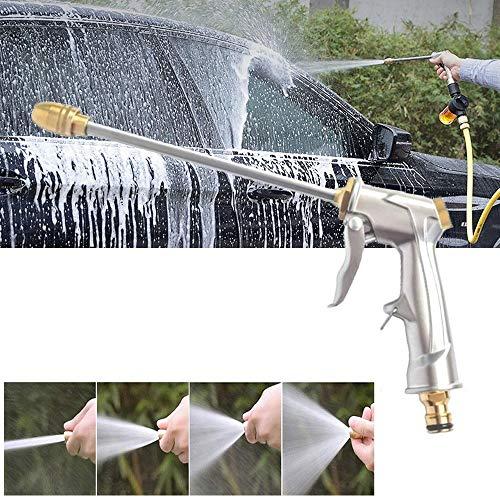 Tuinslang Nozzle Water Spray Verstelbare High Pressure Wasmachine Van De Macht For Plant Flower Huishoudelijke Schoonmaakmiddelen Car Washer - Zilver