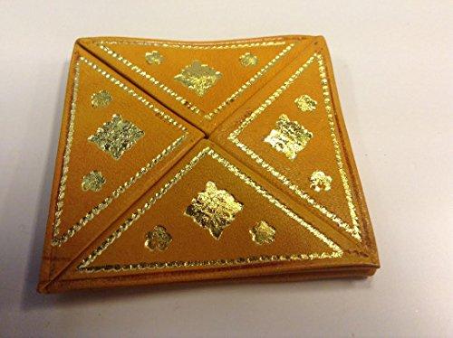 Moroccan Monedero plegable de piel en relieve (amarillo)