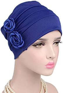 Fashian Lady Flower Muslim Turban Pleated Head Wrap Scarf Bandana Hat Pre Tied Headwear Cancer Chemo Cap WJ-44 (Color : 1, Size : One Size)