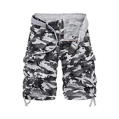 GUOCU Hombre Algodón Camuflaje Cargo Shorts Casuales Trabajo Shorts Bolsillos Militares Pantalones Cortos Bermudas Gris 31