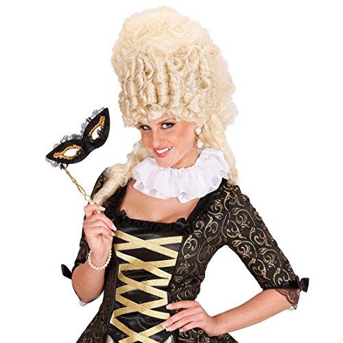 NET TOYS Satin Mittelalter Halskrause Clown Kragen weiß Rüschenkragen Kräuselschal Jabot Rokoko Barock Kostüm Accessoire