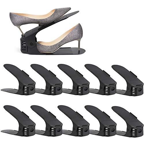 amzdeal Regolabile Scarpiera Salvaspazio,Portascarpe Salvaspazio Plastica Organizer Scarpe Altezza a 3 Livelli Creativo Durevole Scarpiera Shoe Organizer Holder Rack (20 Pezzi)