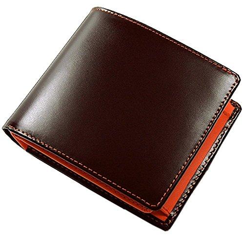 カード収納多い! 二つ折り 短財布 [ otokosaifu ] メンズ 紳士 誕生日プレゼント 3009 (ブラウン×オレンジ)