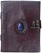 Dios Leather Journal Vintage Single Stone Antique Handmade Daily Notepad for Men & Women, Best Gift, Travel Diary & Notebook (7 x 5 Inches)