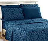 LDC Queen Bed Sheets Set -Queen Sheets Brushed Microfiber 1800 Thread Count Bedding -Wrinkle, Stain, Fade Resistant-Deep Pocket Queen Size Sheets Set - 6 PC(Queen, Paisley Navy Blue)