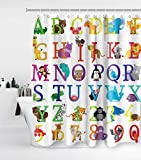 Alphabet Shower Curtain Kids ABC Educational Learning Tool Boys Babies Large A to Z with 12 Hooks Waterproof Washable and Durable Polyester Cloth Fabric Bathroom Set Decor Washable 72 x 72 inches