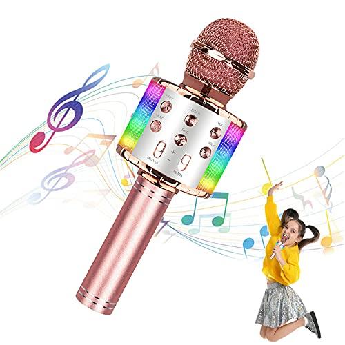 Mikrofone für Kinder Drahtloses Bluetooth-Mikrofon, tragbares Handheld-Spielzeug-Karaoke-Mikrofon-Lautsprecher, Home-KTV-Player mit Aufnahmefunktion, kompatibel mit Android-iOS-Geräten (Roségold)