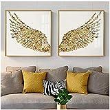 Impresiones del arte de la pared Decoración del hogar Ala de mariposa dorada Imágenes nórdicas del cartel Cuadros modernos de lienzo para la sala de arte -50x50cm Sin marco