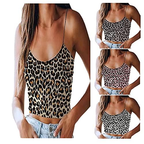 Camisola Mujer Tops Moda Sexy Verano Cuello Redondo Mujer Blusa Exquisito Imprenta Leopardo Sin Mangas Ultracorto Diseño Diario Casual Transpirable All-Match Mujer T-Shirts A-Khaki XL