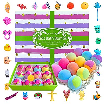 Surprise Bath Bomb Gift Set! 12 Large Kids Bath Bombs with Toys Inside! Natural Lush Bath Balls with toys inside for boys & girls! Perfect Birthday Gift or Holiday Gift for Kids of all Ages!