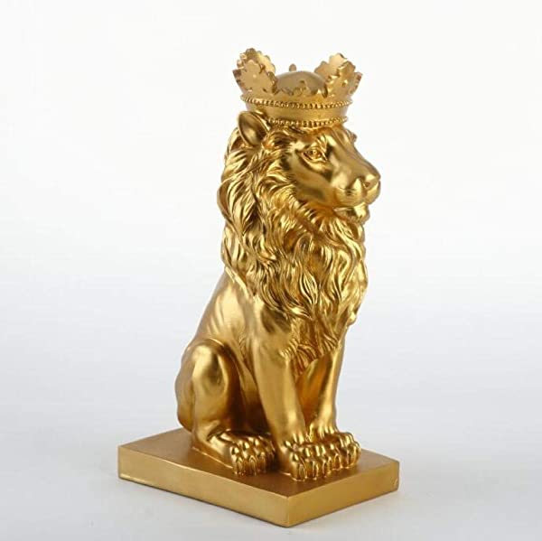 US CAMLEO Lion Statue Golden Crown Creative Modern King Of The Forest Lion Animal Figurine Sculpture For Home Decorations Attic Ornaments Gifts