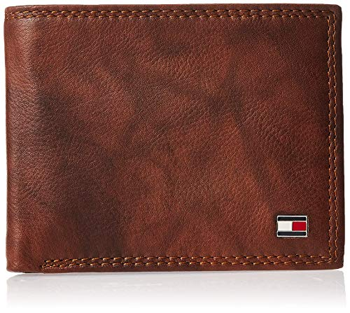 Price comparison product image Tommy Hilfiger Men's RFID Blocking Leather Extra Capacity Traveler Wallet,  Tan Huck,  One Size