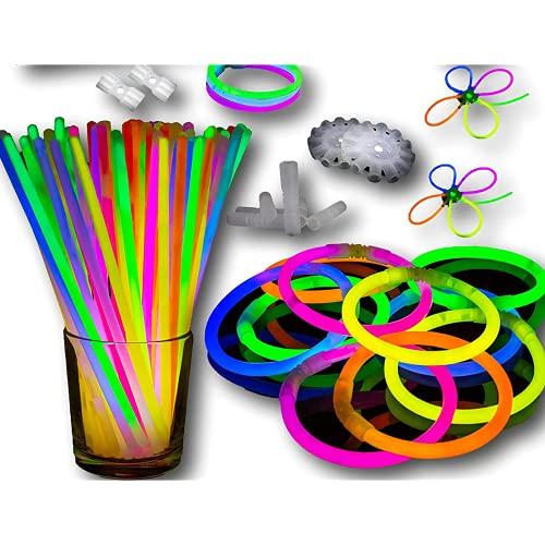 ZUJIFA Neon Neon Neon Blow Stick Pulseras y Collares de neón para Suministros de Fiesta, cumpleaños, Regalos de Boda, Varilla de Mezcla