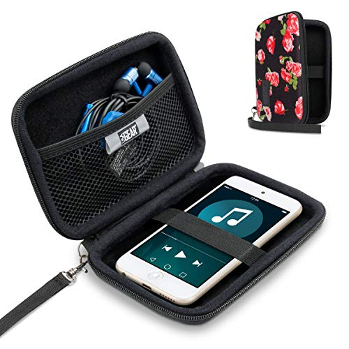 USA Gear Hard Shell iPod Travel Case Compatible with Apple iPod Touch (7th Generation, 6th Generation, 5th Generation), MP3 Player Case with Water-Proof Exterior, Wrist Strap - Floral