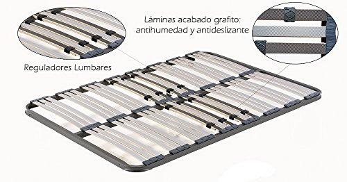 HOGAR 24 Somier Multiláminas con Reguladores Lumbares Sin Patas, Haya, 80x180cm