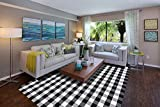 Cotton Buffalo Plaid Rug 8'x10' Hand-Woven Washable Retro Lattice Checkered Outdoor Rug Black and White Area Rug for Living Room, Kitchen, Dining Room, Bedroom (Black & White, 8x10)