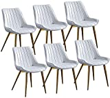 JFIA65A Modern Esszimmerstühle 6er-Set Moderner Gepolsterter Weicher Sitz Aus PU-Leder Mit Hoher Rückenlehne Robuste Metallbeine für Lounge Dining Living Cafe Empfangsstuhl Sessel (Farbe : White)