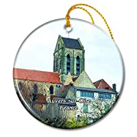 Auvers-sur-Oise フランス Church of Notre-Dame d'Auversクリスマスオーナメントセラミックシート旅行お土産ギフト