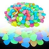 munloo 100 Piezas Piedras Luminosas, Piedras Coloridas Guijarros Luminosas Piedras Fluorescentes Decorativas para Acuarios Jardín Decoración de Pasillos