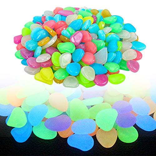 munloo 100 Pezzi Pietre Luminose, Ciottoli Colorati Fluorescenti Luminose per la Decorazione del Corridoio del Giardino dell'Acquario