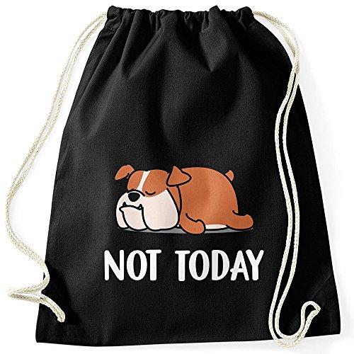 MoonWorks Lustiges Faulenzer Turnbeutel Not Today Chillen Fun-Shirt Hund schwarz Unisize