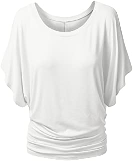 Viottis Women's Loose Boat Neck Dolman Sleeves Pleated Front Draped Top T Shirt
