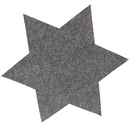 6 x XL Filzsterne - Tischset in verschiedenen Farben, Ø 40 cm - Weihnachtsdeko Filz - Tischset aus Filz - Untersetzer- Platzdeckchen - Platzset Farbe Grau