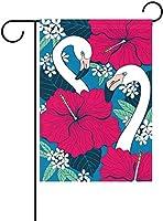 フラッグ カラフルでエレガントなフラミンゴレッドハイビスカスの花と葉ガーデンフラッグバナー屋外ホームガーデンフラワーポットの装飾のための 30 x 45cm