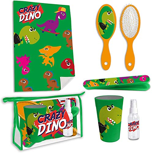 Hygiene-Set für Kinder in der Schule und auf Reisen Dinosaurier mit Zahnbürste, Zahnbürstenhalter, Handtuch, Dinosaurier – Toiletten-Set für Kinder