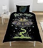 Rick and Morty UFO Juego de Funda nrdica, polister-algodn, Multicolor, Individual, Multicolor, 135 x 0.5 x 200 cm