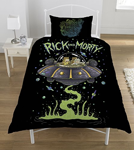 Rick and Morty' UFO Duvet Set, Polyester-Cotton, Multi-Colour, Single