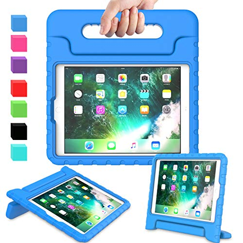AVAWO Kids Case for New iPad 9.7 2017 & 2018 Release - Light Weight Shock Proof Convertible Handle Stand Friendly Kids Case for iPad 9.7-inch 2017 & 2018 Previous Gen (iPad 5th & 6th Gen) - Blue