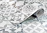 Vinilo Decorativo Para Pared y Muebles Papel Autoadhesivo Impermeable Textura Imitación Baldosa Hidráulica (250x62 cm, Baldosa Hidráulica blanca)