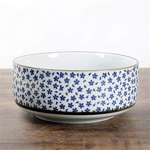 cuenco para comer, Estilo japonés cerami estilo japonés antiguo vajilla vajilla cerámica tazón pintado a mano de color de fideos de fideos de fideos Cereza 20.5x10cm Ensalada de ramen Sopa de la sopa