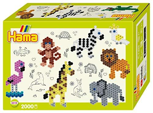 Hama 3510 Geschenkpackung Zootiere, Bügelperlen Midi, ca. 2000 Stück inklusive Stiftplatte und Zubehör
