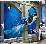 GYMNLJY 3D Polyester Dusche Vorhang Digitaldruck Water-Repellent und antibakterielle verdicken Duschvorhänge Bad Dusche Schatten für das Bad , 2 , 180*200
