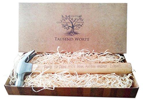 Vatertagsgeschenk, Geschenk für Väter : Gravierter Holzhammer : Danke für Deine Hilfe beim Aufbau meiner Zukunft - Du bist der Hammer - Besonderes Geburtstagsgeschenk für Männer