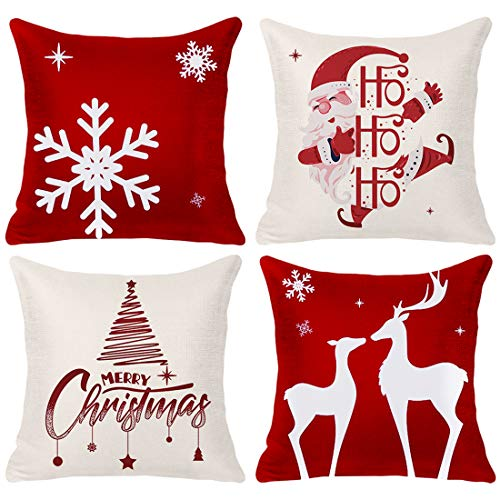 DESTURE Christmas Throw Pillow Covers 18x18 Inches, Christmas Trees, Snowflake Xmas Farmhouse Christmas Decorations Clearance Pillow Case Set of 4 (Christmas01, 4)