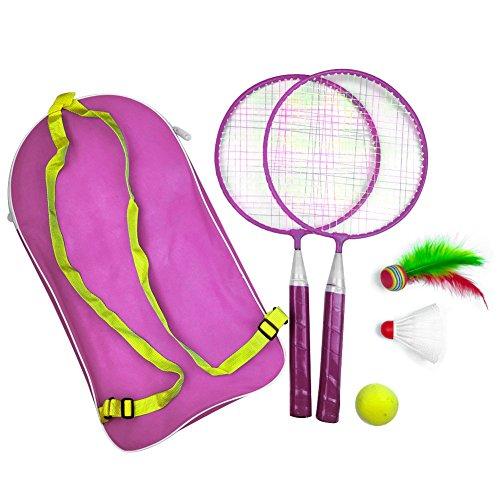 Nakw88 Badmintonschläger 1 Set Kinder Sport Outdoor Spiele Outdoor Sport Badminton Set mit Rucksack Baby mit Federball (Pink)