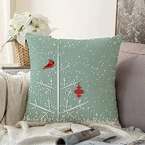 """BONRI Almohada Decorativa Diseño de Invierno Cardenal Rojo Saludos Yule Símbolo de Navidad Texturas de Plantas Felices Fiestas Funda de cojín acogedora Cuadrada Funda de Almohada para sofá, 16""""x 16"""""""