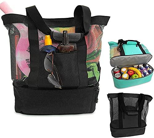 Genericd Bolsa de picnic con compartimento para refrigerador, 2 en 1, gran tamaño con cremallera cerrada, bolsa de playa con bolsa térmica aislada, perfecta para exteriores, camping, barbacoas (D)