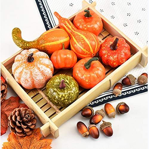 Qeedio - Calabazas artificiales para Halloween, diseño de calabazas, calabazas, hojas de arce, conos de pino, bellotas, Halloween, fiesta de Acción de Gracias, Año Nuevo, decoración para niños ✅