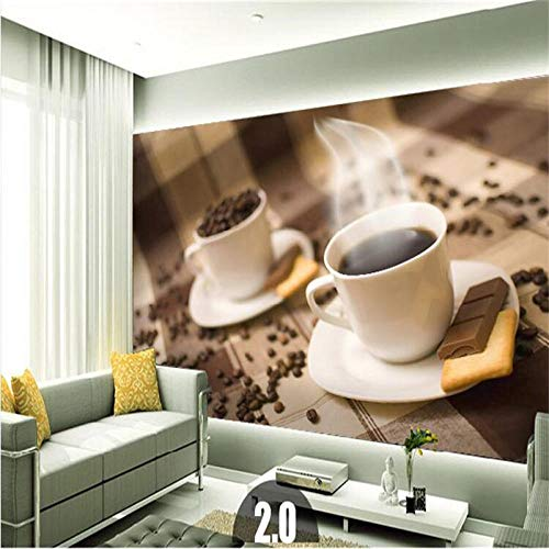 YSJHPC Fototapete Dekor Cafe Personality Kaffeetasse Wallpaper Wandbild Beauty Gym Fitness Restaurant Coffee shop Bar Clothing store Hintergrundbild Für Innenarchitektur 3D Tapete De(B) 300x (H) 210CM