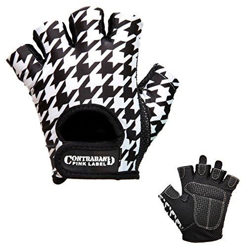 Contraband Pink Label 5257 Womens Design Series Houndstooth Print Lifting Gloves (Pair) - Lightweight Vegan Medium Padded Microfiber Amara Leather w/Griplock Silicone (White/Black, Small)