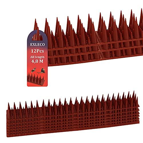EXLECO Ahuyentador de pájaros de plástico, 4,8 metros, 12 unidades, 3 filas, pinchos para gatos, gorriones, martas, vallas, alféizares de ventana, techo   rojo ladrillo