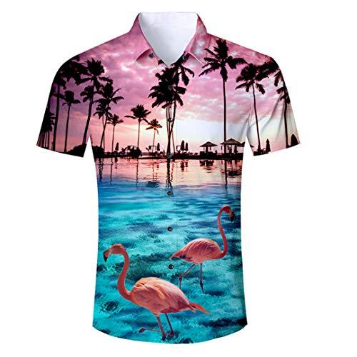 Bud SAQIU Herren Hemden Kurzarm Slim Palm Tree Flamingos Hemden Herren Casual 3D Hemden Sommer Tops Men Shirt L