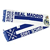 Bufanda Real Madrid, 140 x 18 cm Bufanda Real Madrid Since 1902 con Escudo, Bufanda Oficial Fan, Color Azul y Blanco